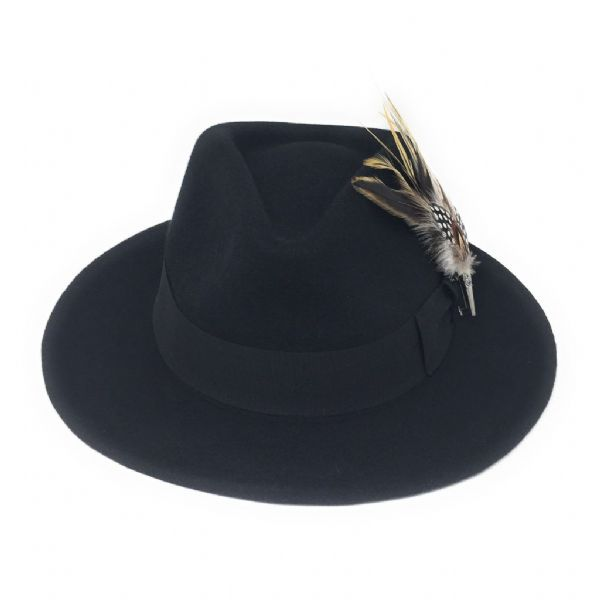 Black Showerproof Wool Fedora Hat with Country Feather Brooch - Burford
